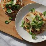 Honing-mosterd pulled chicken tortizza's met appel