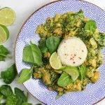 Frisse kip kerrie met spinazie en limoen