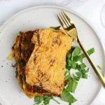 Vega lasagne met spinazie, linzen en kruidenkaas