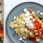 Gegrilde groente met tijm, geitenkaas en couscous